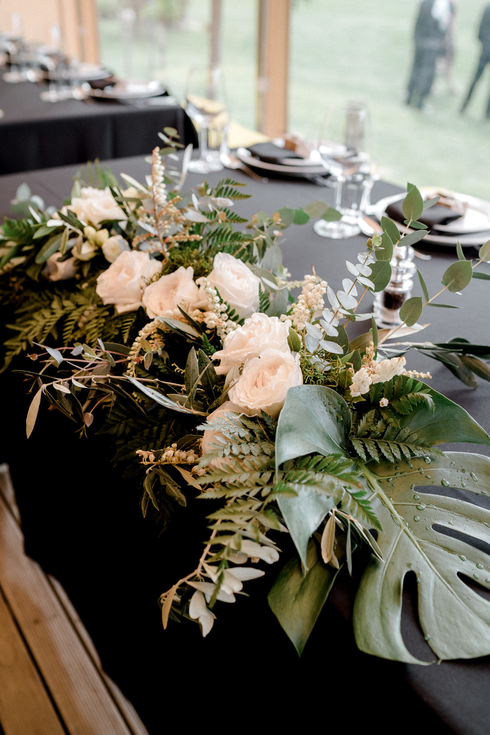 Wedding Floral Centrepiece table set up