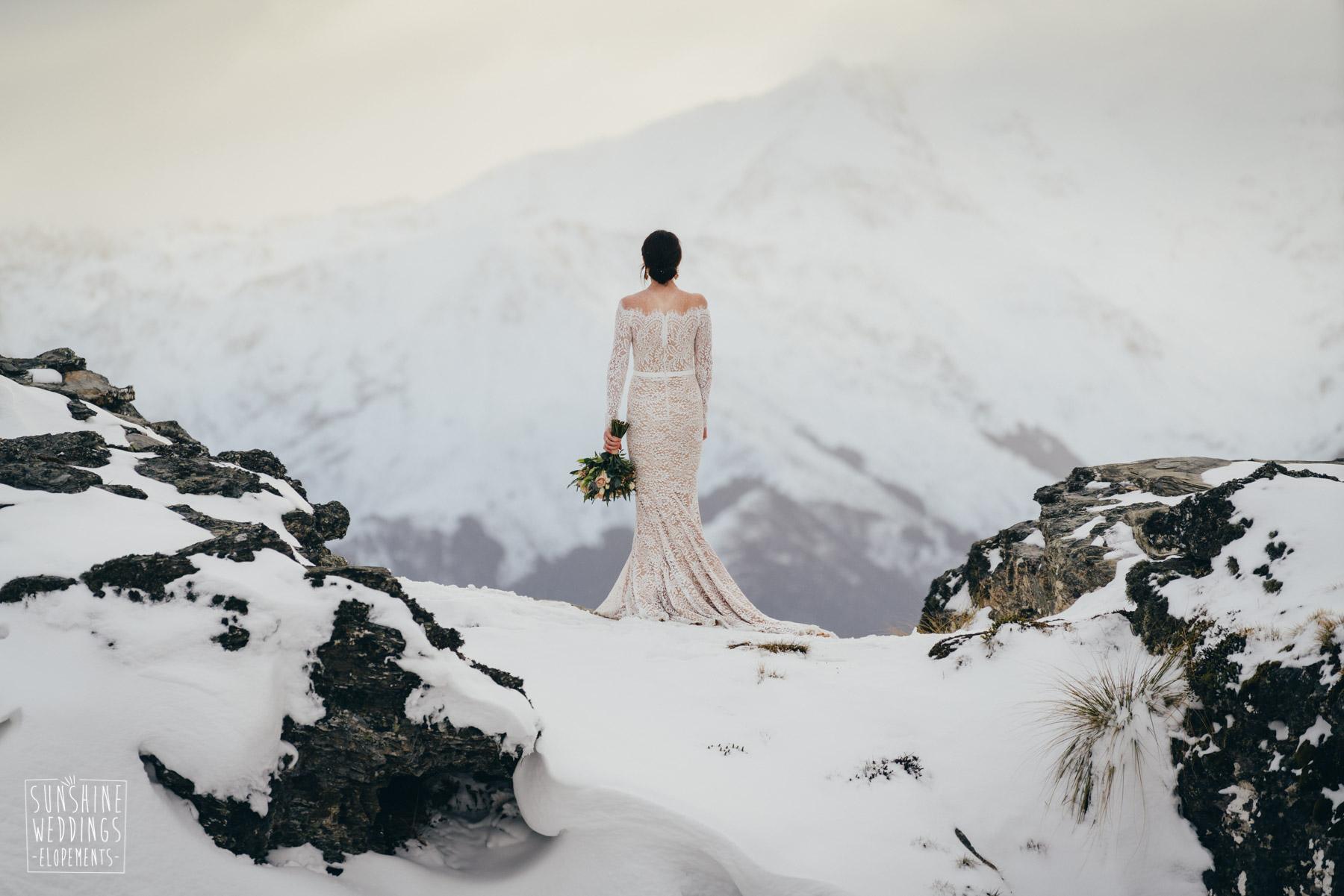 Queenstown Mountain wedding bride