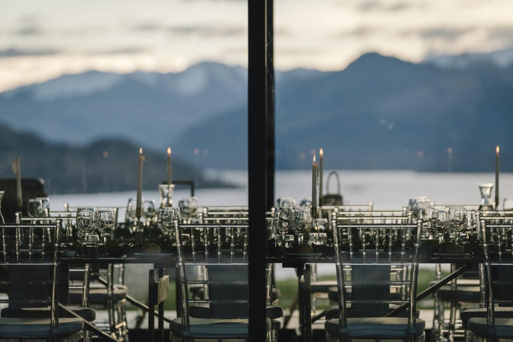 Table settings through glass window