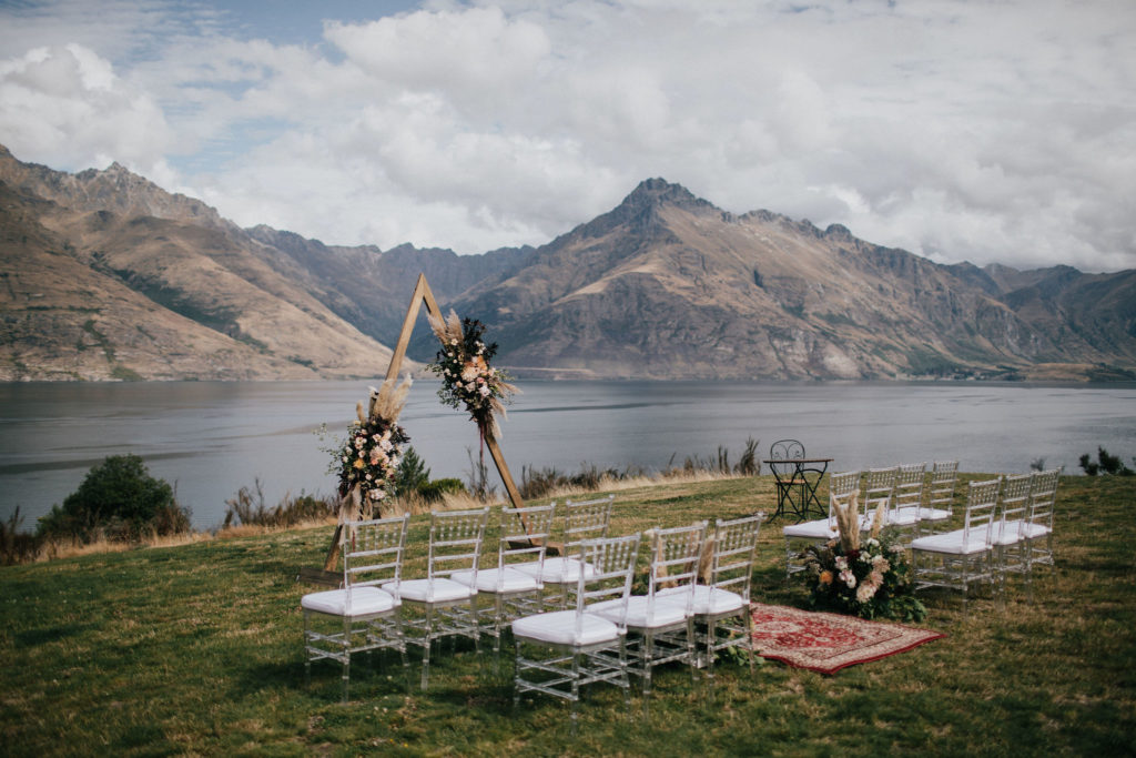 Floral Wedding Arch for Ceremony Lake Views