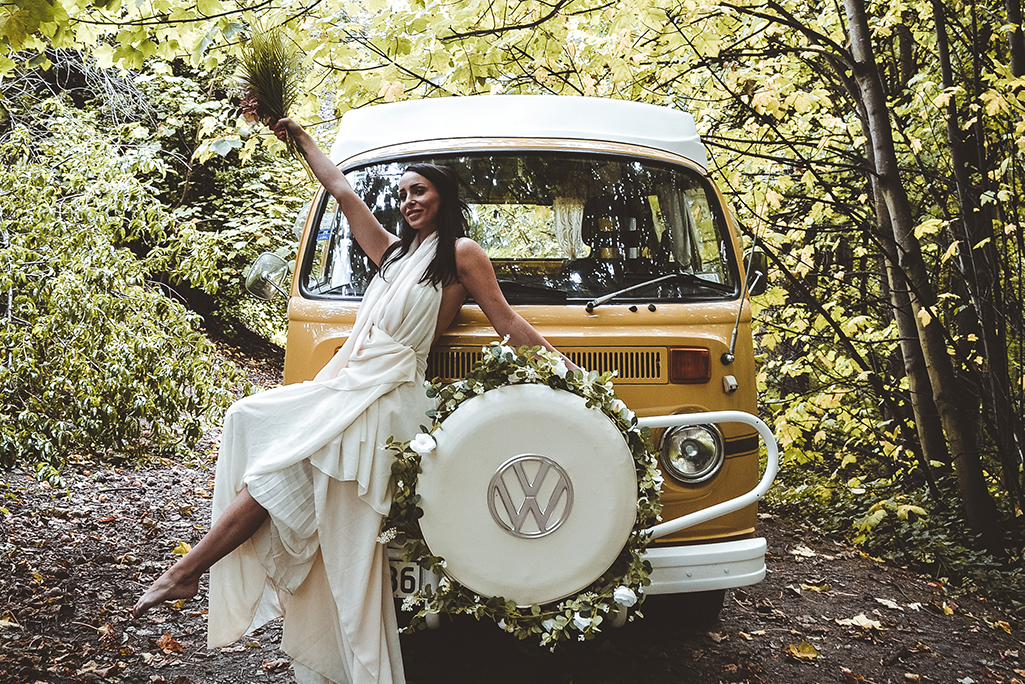 Kombi VW and Bride in Forest