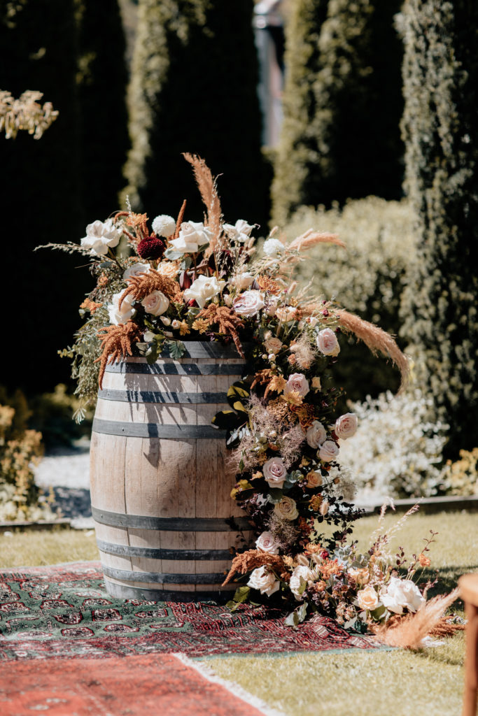 Bespoke Floral Display on Wine Barrell